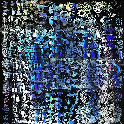 Woohome 22 Stück Harz Aufkleber Kit, 20 Stück Holographische Zauberkreise Transparent Dekorieren Aufkleber und Schere Pinzette für UV Harz Handwerk