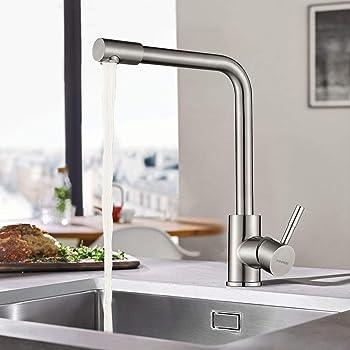 360° Drehbar Küchenarmatur Wasserhahn Spültischarmatur Mischbatterie für Küche