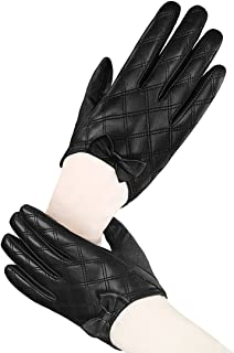 LETHMIK Lady's Stylish Driving Short Gloves Backless Genuine Leather Gloves