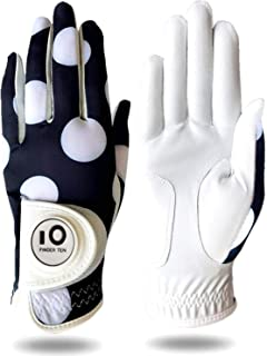 Amy Sport Womens Golf Glove with Ball Marker Rain Left Right Hand Leather Printed Pack, Ladies Golf Gloves All Weather Grip Breathable Soft Size Small Medium Large XL