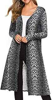 NANTE Top Women's Coat Leopard Printed Long Cardigan Open Front Drape Maxi Cardigans Lightweight Duster Coats Outwear Jacket Outerwear