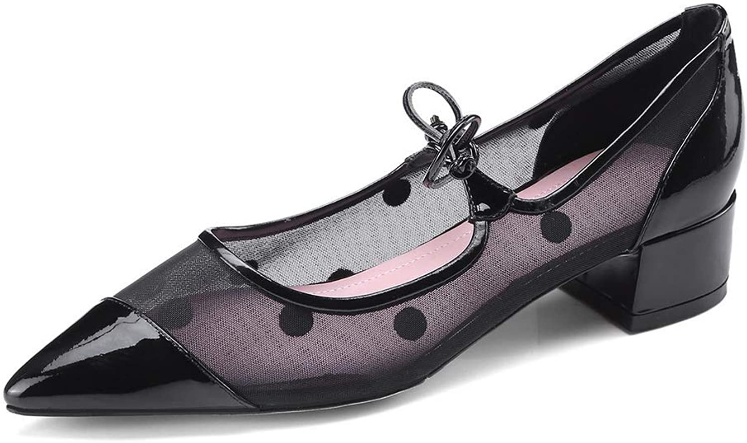 BalaMasa Womens Hounds-Tooth Lace Dress Urethane Pumps shoes APL11187