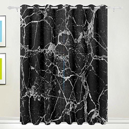 Rideau de fenêtre, 2 panneaux de luxe en marbre Noir Impression Isolation thermique épais Super Doux Tissu de polyester Décoration de maison avec oeillet pour chambre à coucher Salon de sall