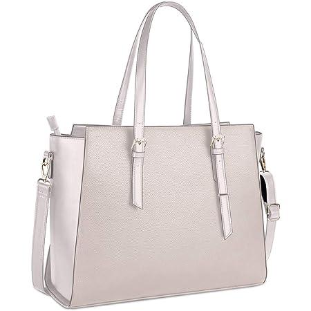 NEWHEY Handtasche Damen Shopper Damen Große Beige Gross Laptop Tasche 15.6 Zoll Elegant Leder Umhängetasche für Büro Arbeit Schule