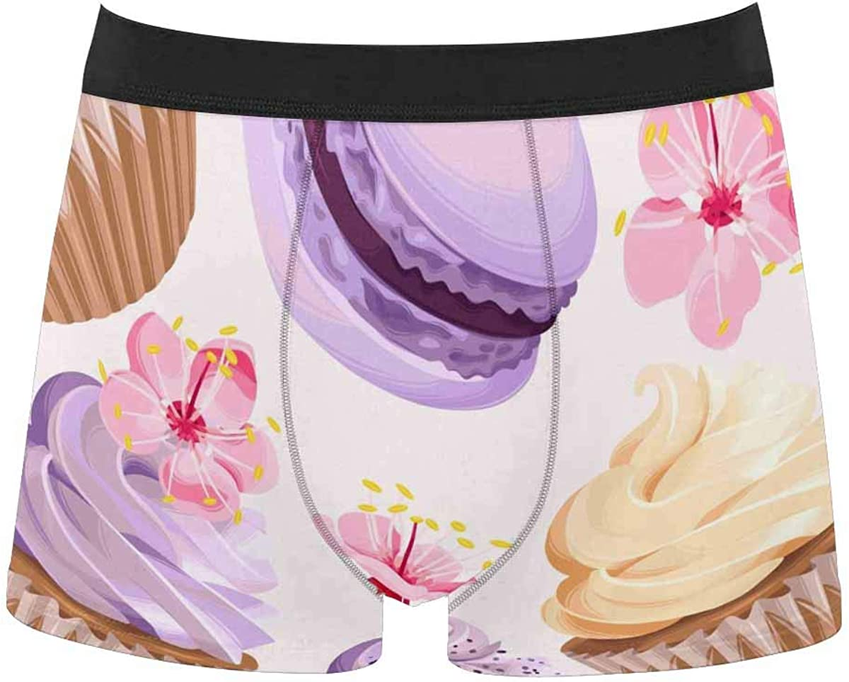 InterestPrint All Over Print Breathable Polyester Boxer Briefs Underwear Cosmic Plants Pattern