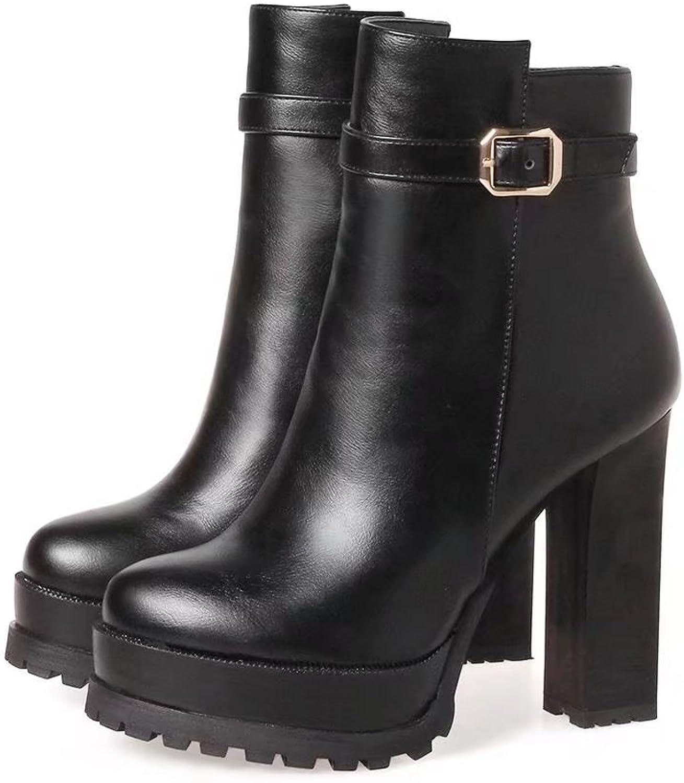 VIMISAOI Women's Chunky Heel Pull Buckle Boots High Heel Zipper Ankle Boots