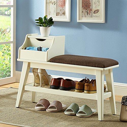 MEIDUO Étagères Repose-pieds Housewares Organisateur de rangement pour étagère à chaussures en bois, à 2 niveaux, noyer, laiteux très durable (Couleur : Milky, taille : A)