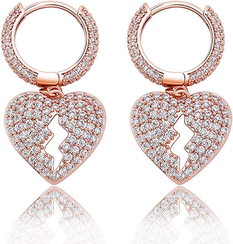 Broken Heart Stud Earrings Iced Out Cubic Zirconia Trend Delicate Jewelry For Women Men