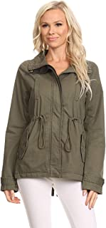 Ambiance Apparel Women's Plus Size Olive Green Contrast Anorak Jacket