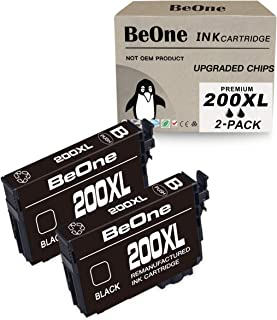 BeOne 200XL 2-Pack Remanufactured Black Ink Cartridge Replacement for Epson 200 XL T200 T200XL to Use with Expression Home XP-410 XP-400 XP-200 XP-310 XP-300 Workforce WF-2540 WF-2530 WF-2520 Printer