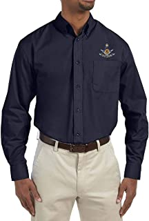 Past Master with Square & Protractor Embroidered Masonic Men's Poplin Button Down Dress Shirt
