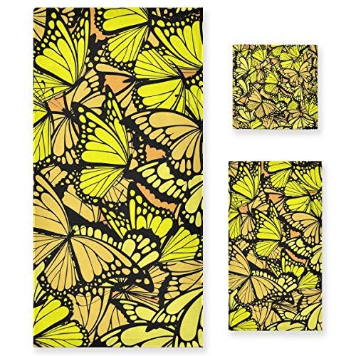 MNSRUU Handtuch-Set mit gelben Schmetterlingen, für Frauen und Mädchen, Badetücher, Handtücher und Waschlappen, saugfähiges Badezimmer-Zubehör