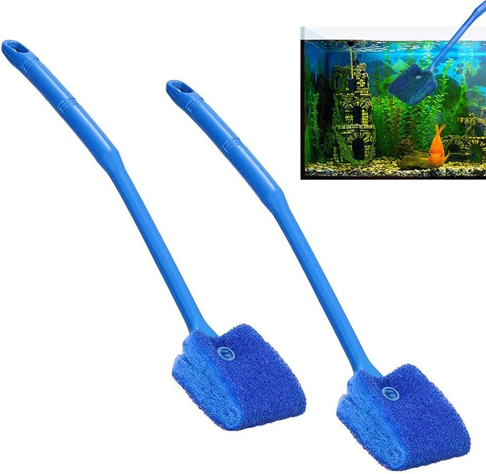 HUYIWEI Spazzola per Acquario-Spazzola per Acquario-Spazzola per la Pulizia del Vetro-Spazzola per la Pulizia della Spugna Blu-Spugna per la Pulizia su Due Lati-Manico Lungo 40 cm-Un Set di Due