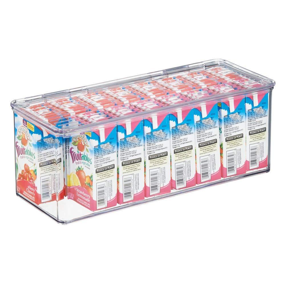 mDesign Caja de plástico con tapa – Caja de almacenaje para ...