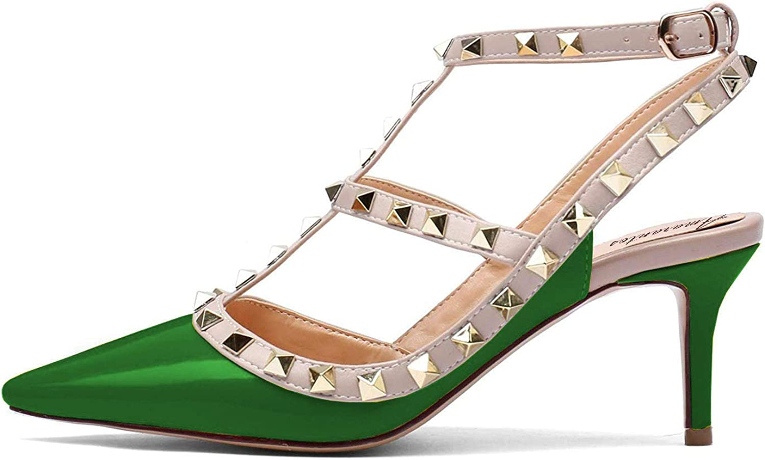 Amarantos Women's Pointed Toe Kitten Heel Strappy Sandals Studded Ankle Strap Pumps shoes