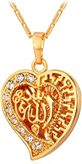 U7 CZ Allah Pendant Necklace with Chain Platinum / 18K Gold Plated Muslim Jewelry, with Text Engraving Service
