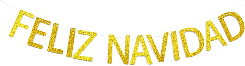 Best Feliz Navidad Gold Glitter Banner Spanish Merry Christmas Banner Winter Holiday Party Decorations Review