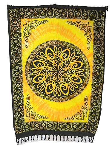 Sarong Pareo Keltisches Blumen Mandala II gelb-orange/große Auswahl schönste Farben/Wickelrock Strandtuch Sauna-Tuch Wickelkleid Schal Wickeltuch Bademode Freizeitmode Sommermode/aus 100% Viskose