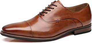 La Milano Mens Cap Toe Oxford Leather Lace Up Classic Comfortable Modern Formal Business Dress Shoes for Men