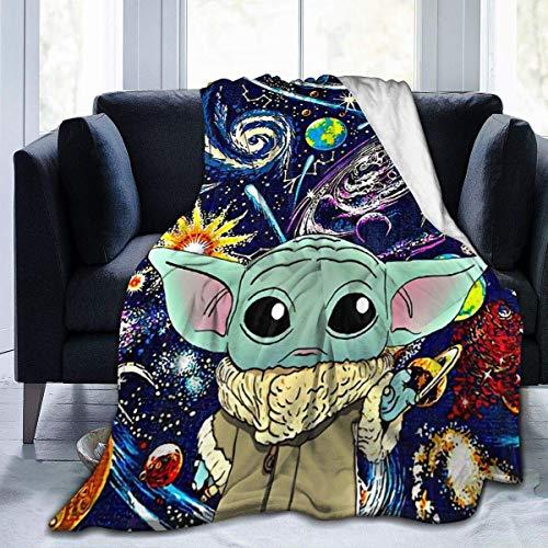 The Mandalorian Baby Yoda - Manta de microfibra ultrasuave para aire acondicionado, manta cálida para todas las estaciones, sofá y decoración de casa de felpa, 80 x 60 pulgadas