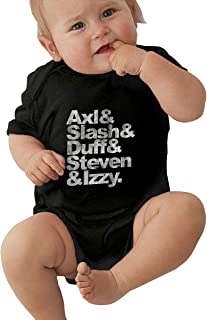 ALEXAKNER Baby Boy Girl Round Neck Short Sleeve Onesie Guns N' Roses Names As The Beatles Axl Slash Funny Crawling Suit Black