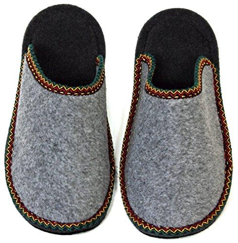 Pantoffelmann Gästepantoffel Bordüre Grau L (40-43)