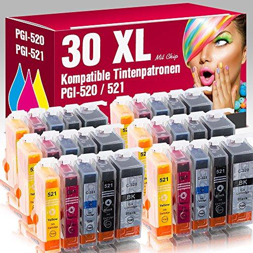 ms-point 30x Patronen MIT CHIP kompatibel für Canon Pixma IP3600 IP4600 IP4600X IP4700 MP540 MP550 MP560 MP620 MP630 MP640 MP640R MP980 MP990 MX860 MX870 MX870 Series PGI-520 CLI-521