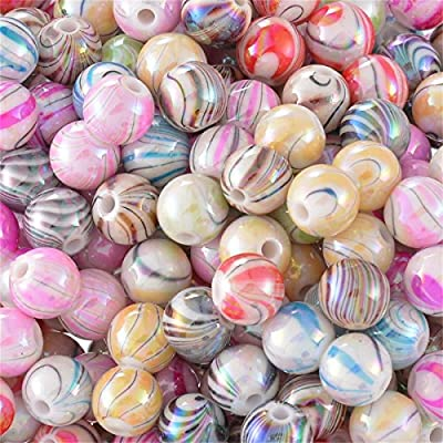 Mixed Plated Bright Multicolor Pattern Acrylic Beads for Jewelry Making