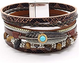 Bracelet Feather Blue Leopard Multilayer Gorgeous Trendy Wide Magnet Leather Bracelets Women Fashion Bangle Female Wedding Jewelry Birthday Christmas Present