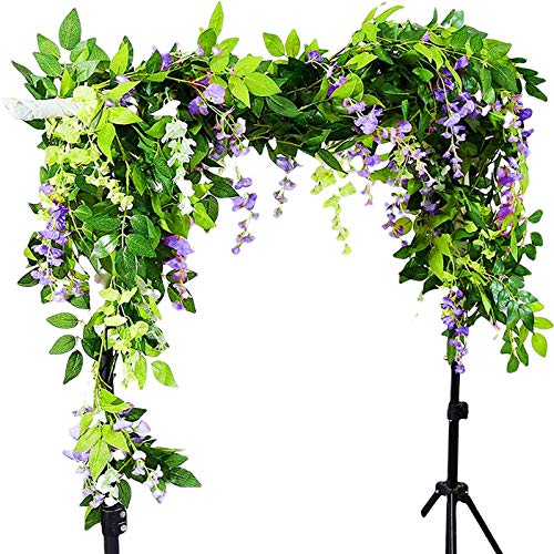 Miwoie Wisteria Garland Artificial Silk Vine, 2 PCS 6.5 ft/Piece, Fake Flowers Garlands Silk Ivy Hanging Plants Wall Decoration for Wedding Party Garden (Purple)