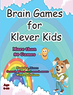 """Brain Games for Klever Kids Age 6-10 : Awesome Activity Book Sudoku Puzzles Mazes Word Search Word Scramble Nurikabe: 8.5""""..."""