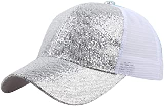 SOVLEE Women Girl Baseball Cap Solid Color Fashion Ponytail Sequins Shiny Messy Bun Hat Sun Bone Caps