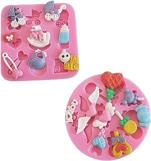 Karen Baking 2Pcs/Set Cuidado del bebé y Dulces Conformado 3D Decoración de Silicona Chocolate