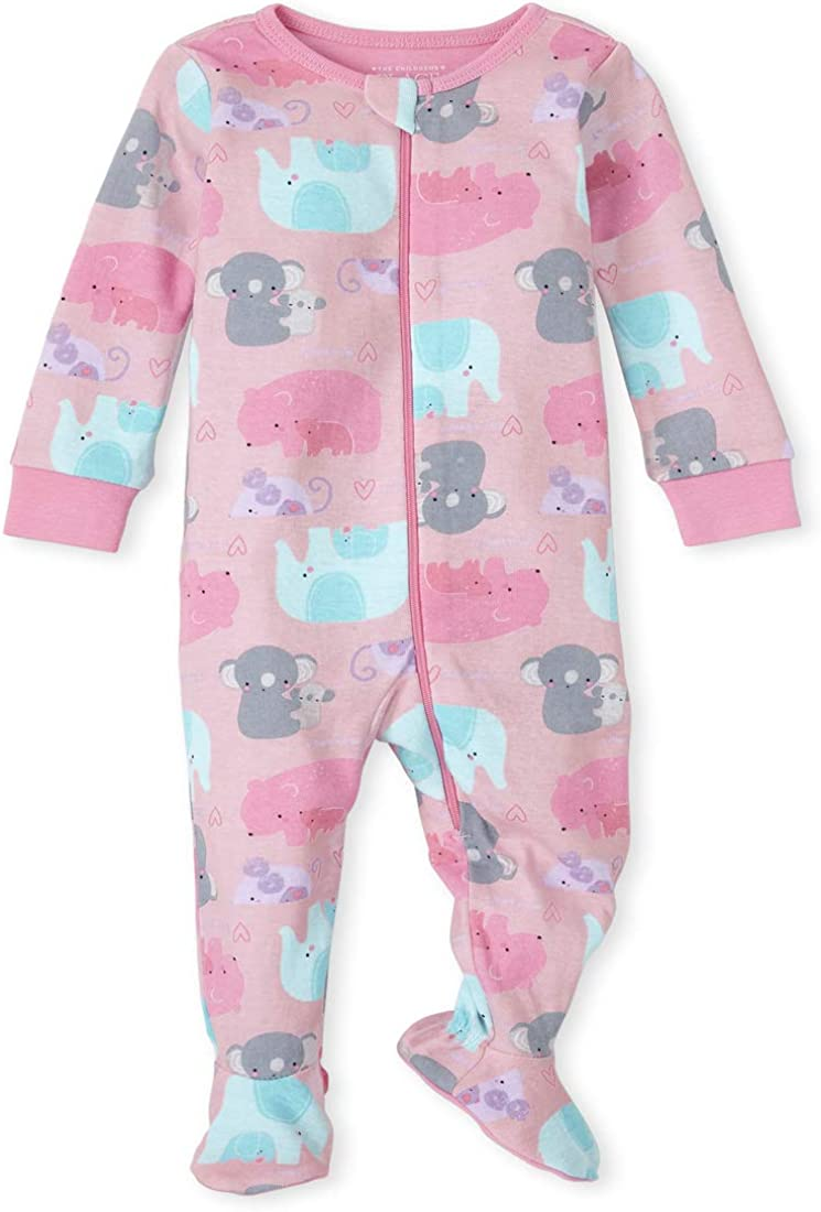 The Childrens Place Girls Baby and Toddler Elephant Snug Fit Cotton One Piece Pajamas
