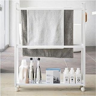 EEUK Support de serviette de sol, chariot de rangement fin, étagère mobile, 3 niveaux pour buanderie, organiseur avec 2 cr...