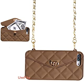 UnnFiko Wallet Case Compatiblewith iPhone X/iPhone Xs, Cute Light Luxury Bag Design, Purse Flip Card Pouch Cover Soft Silicone Case with Handstrap Long Shoulder Strap (Brown, iPhone X)