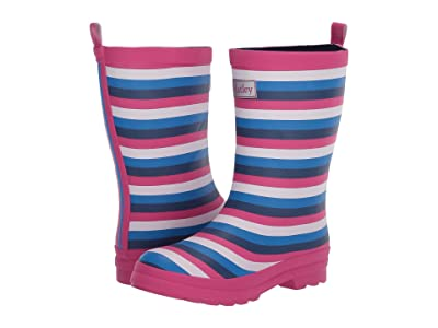 Hatley Kids Summer Stripe Matte Rain Boots (Toddler/Little Kid) (Blue) Girls Shoes