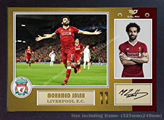 S&E DESING Mohamed Salah Liverpool Signed Autograph Poster Print Photo Picture Framed.