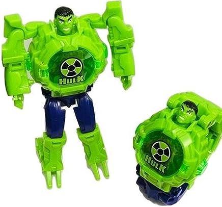 WORLD OF NEEDS ® Hulk Transformer Robot Toy Convert to Digital Wrist Watch for Kids Avengers Robot Deformation Watch Captain America Figures Plus Watch