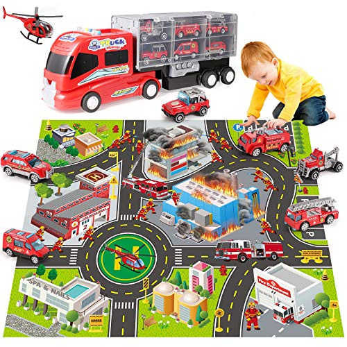 DOLIVE Fire Carrier Truck Transport Car Play Vehicles - 18 in 1 Firefighting Set w/ Sound & Light, Diecast Fire Rescue Toys w/ Mini Water Cannon Vehicle/Medical Ambulance/Ladder Truck/Helicopter