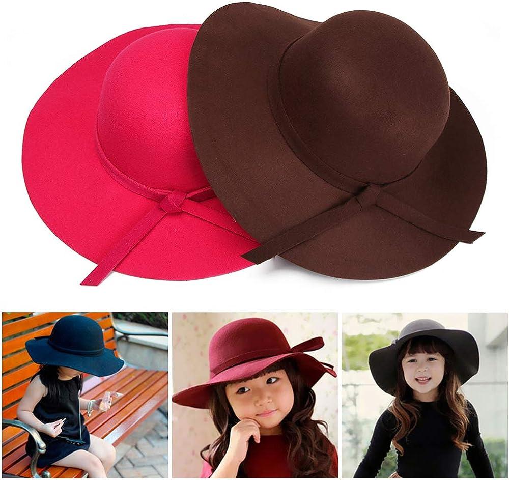 Kids Girls Vintage Wool Felt Bowler Cap Dome Fedoras Floppy Hat Wide Brim Sun Hat