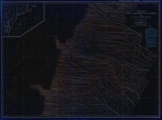 Vintography Blueprint Style 18 x 24 Reprint of 1938 Bathymetric Map United States - East Coast Coastal Slope East of Chesapeake Bay Entrance USA