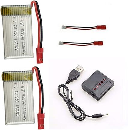 kit 2 Bateria 600mah E Carregador 5x1 para Drone Inspire Fq777 Ml2123 e similares