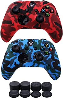 VINSOC Water Transfer Printing Silicone Camouflage Anti Slip Cover Case For XBOX ONE X /XBOX ONE S Controller*2(Red&Blue) ...