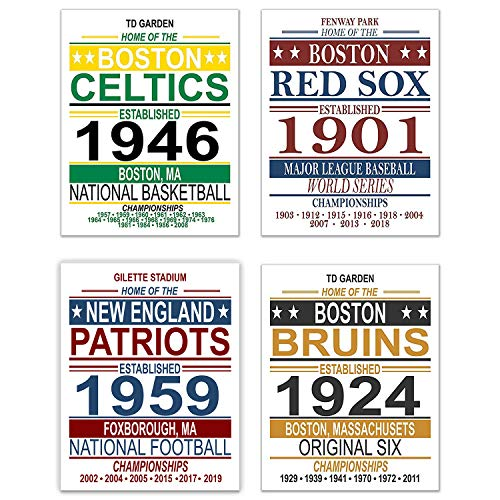 Boston Vintage Sports Posters - Set of Four 11x14 Prints - Celtics, Red Sox, Patriots, Bruins - NBA, MLB, NFL, NHL Memorabilia Fan Art