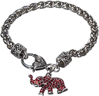 Crimson Rhinestone and Silver Toned Elephant Charm Bracelet, 7.5 Inches