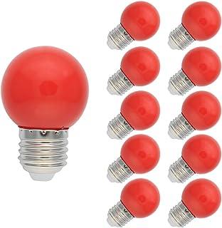 10X 220V E27 1W LED Bombilla Lámpara Globo Ahorro de Energía Pelota de Golf Partido Fiesta -Rojo