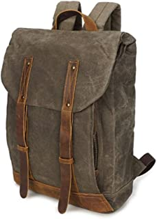 Rjj Canvas Backpack Retro Waterproof Outdoor Travel Canvas Bag 32 * 17 * H47CM Exquisite (Color : Green)