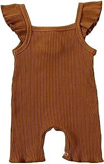 الوليد طفلة تكدرت رومبير الرضع الصلبة مضلع بذلة القطن الزي لطيف ملابس الطفل الصيف (Color : Coffee, Kid Size : 6M)