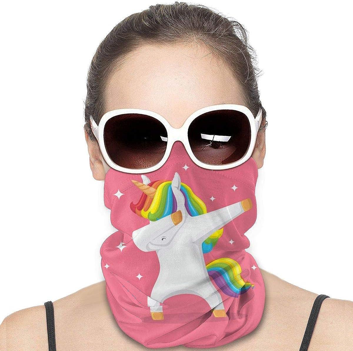 KiuLoam Women Bandanas Face Mask, Dabbing Unicorn Cute Neck Gaiter Mask Headband for Men Face Scarf Dust, Outdoors, Sports